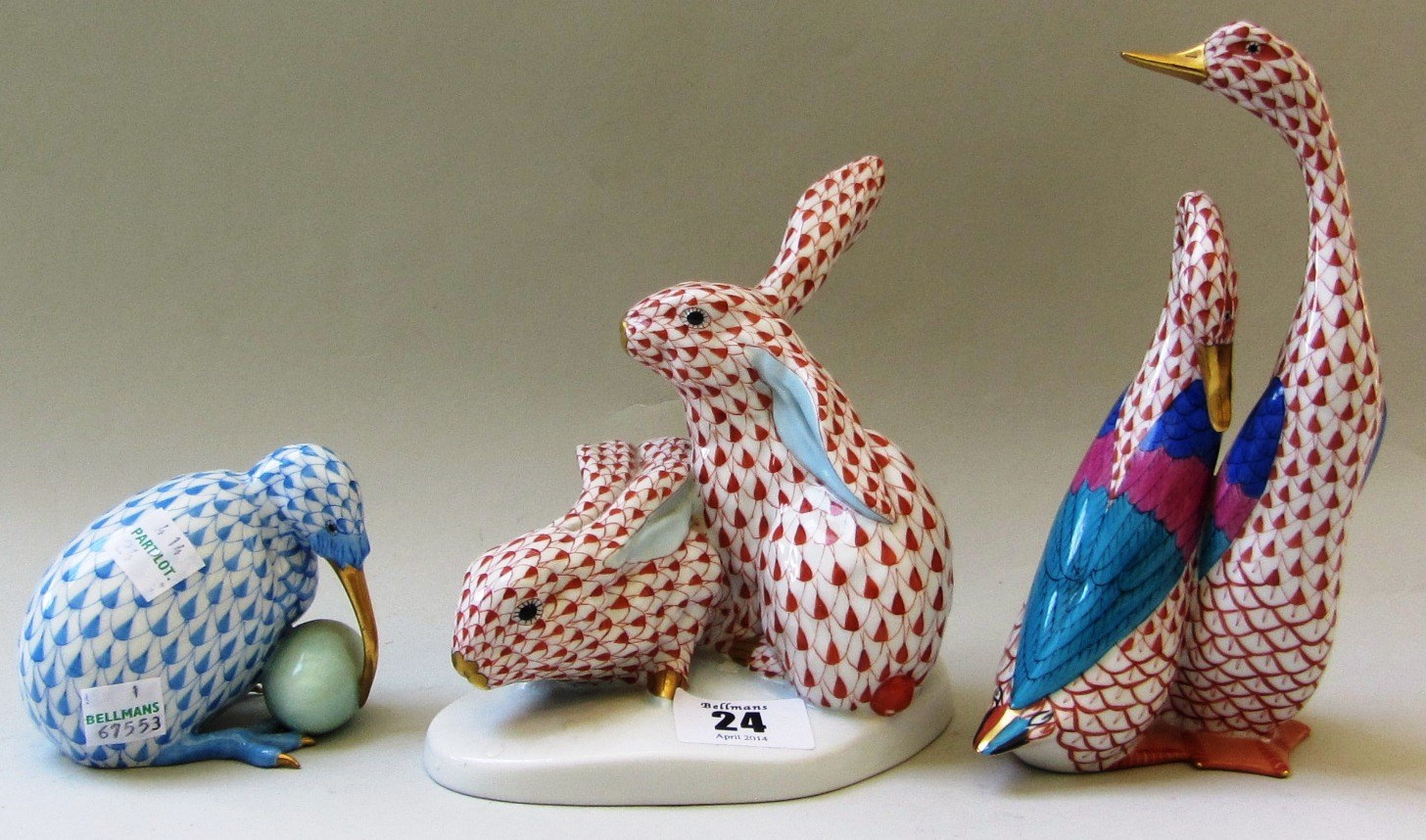 A Herend porcelain Bunny rabbit group, Imari