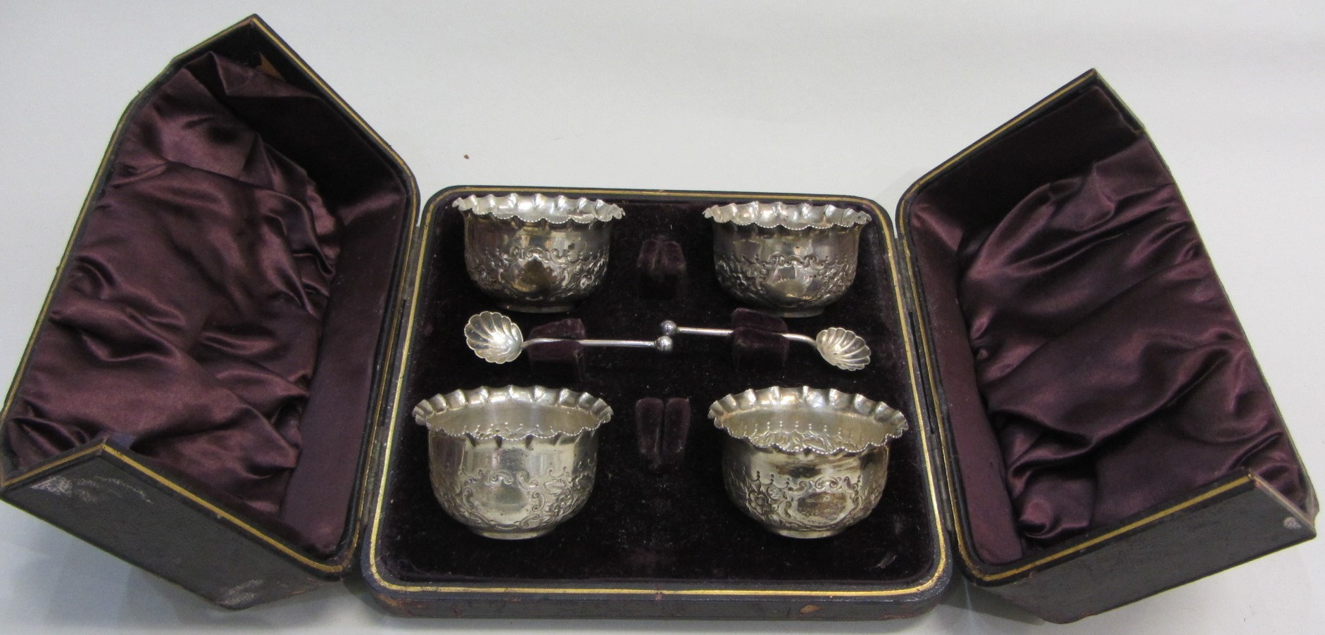 A set of four Victorian silver salts, with