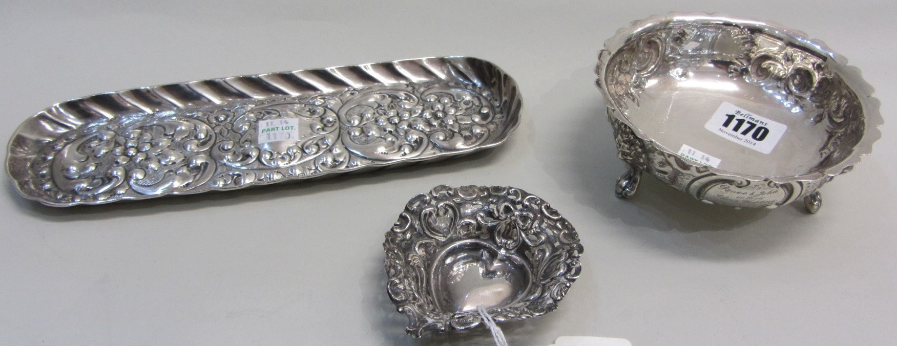 A Victorian silver shaped circular bowl,