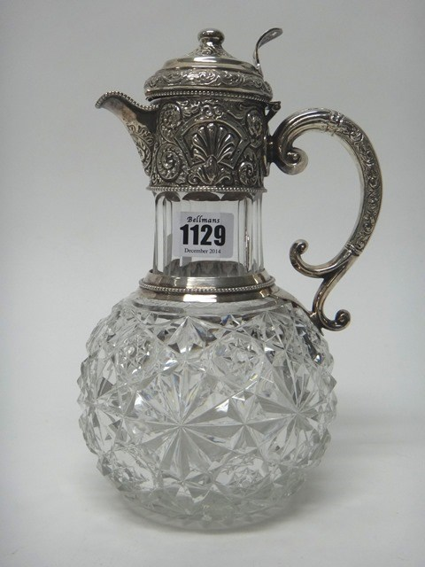 A Victorian silver mounted faceted glass