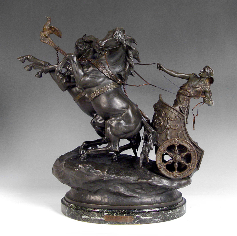 CHAR DE LA VICTOIRE SCULPTURE:  French spelter