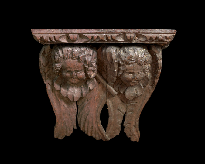 Northern European Carved Oak Winged Double-Putto