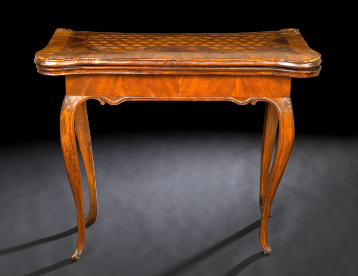 Italian Walnut and Fruitwood Games Table,