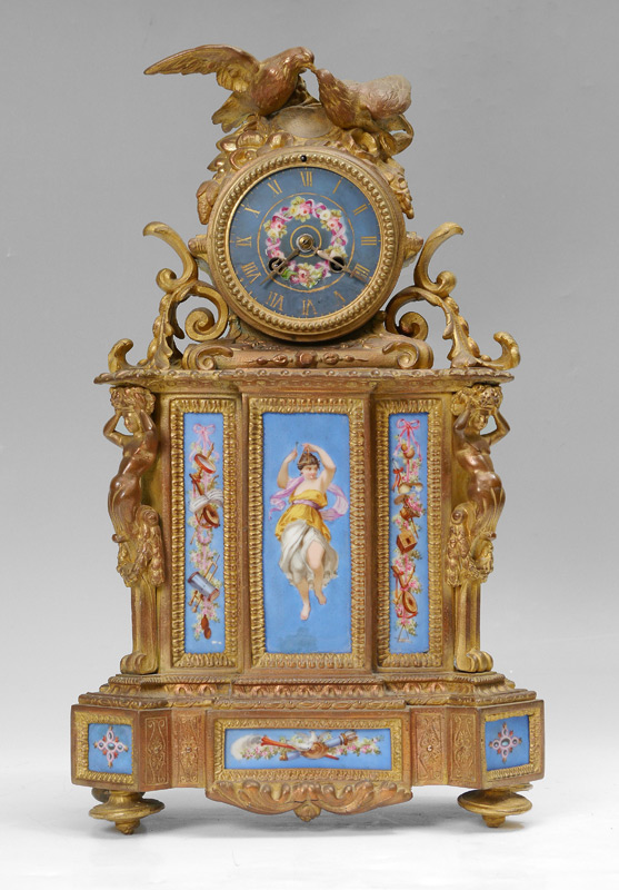 FRENCH FIGURAL GILT METAL MANTLE CLOCK:
