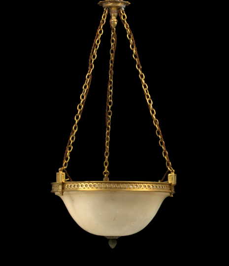 French Gilt-Brass-Mounted Alabaster Chandelier,