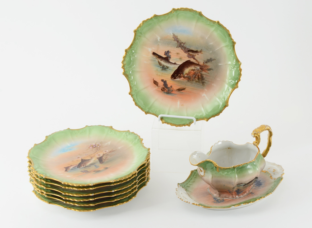 FRENCH LIMOGES FISH SET: Ca. 1891-1914. 7