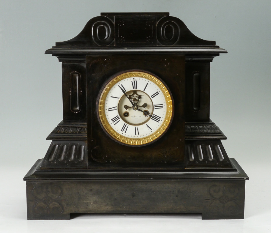 FRENCH BLACK SLATE MANTLE CLOCK:  Heavy carved