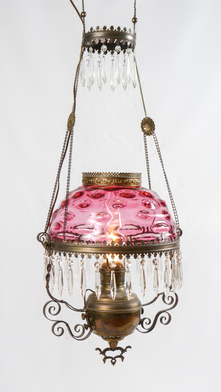 VINTAGE CRANBERRY GLASS HANGING PARLOR LAMP: