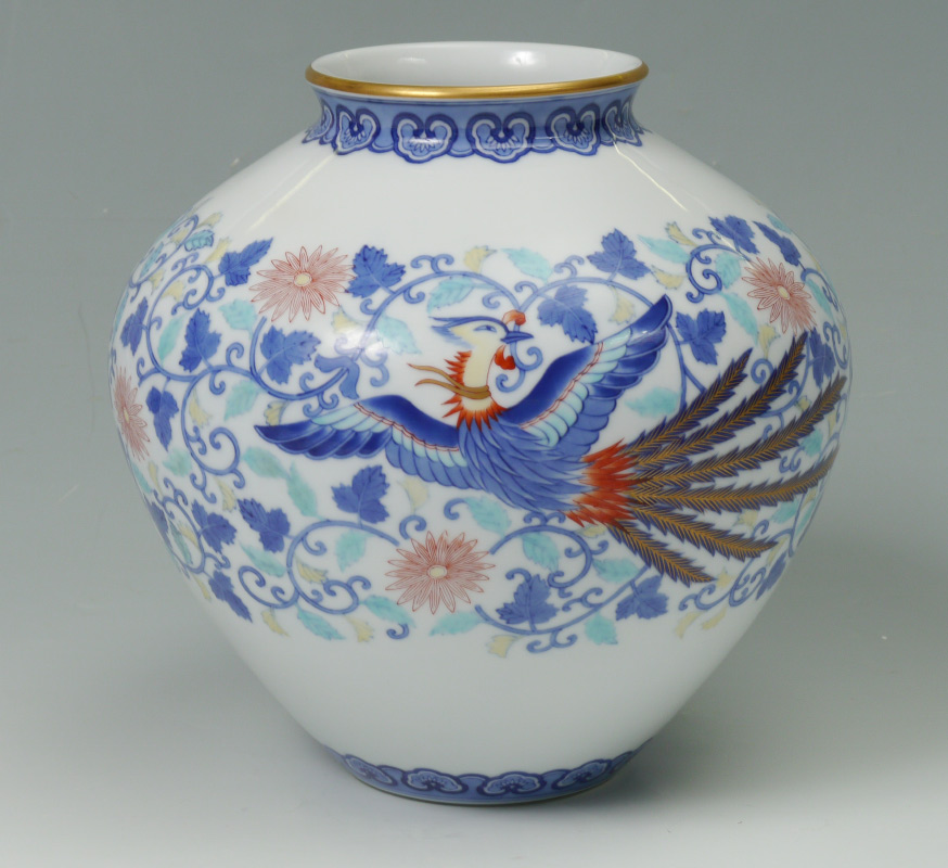 Price Guide For Large Fukagawa Vase With Phoenix Polychrome