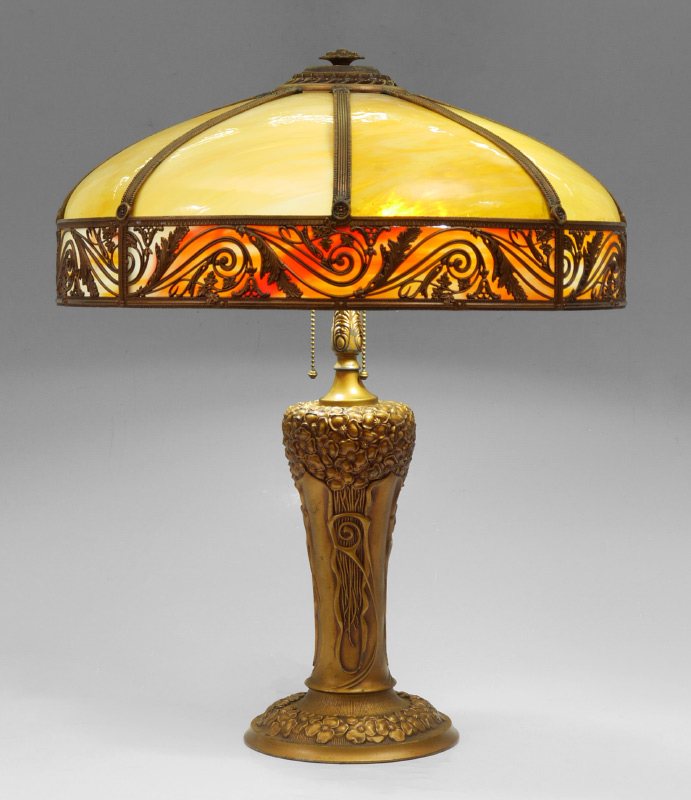 MILLER 8 BENT PANEL SLAG GLASS LAMP:  Attributed