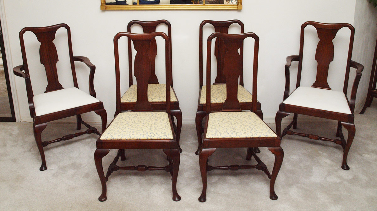 SET OF 6 QUEEN ANNE DINING CHAIRS:  Shaped