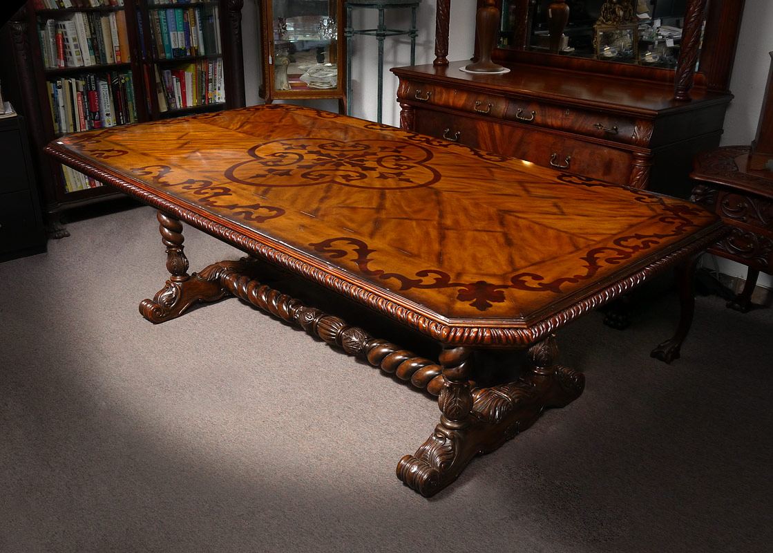 MAITLAND-SMITH PARQUETRY INLAID DINING TABLE: