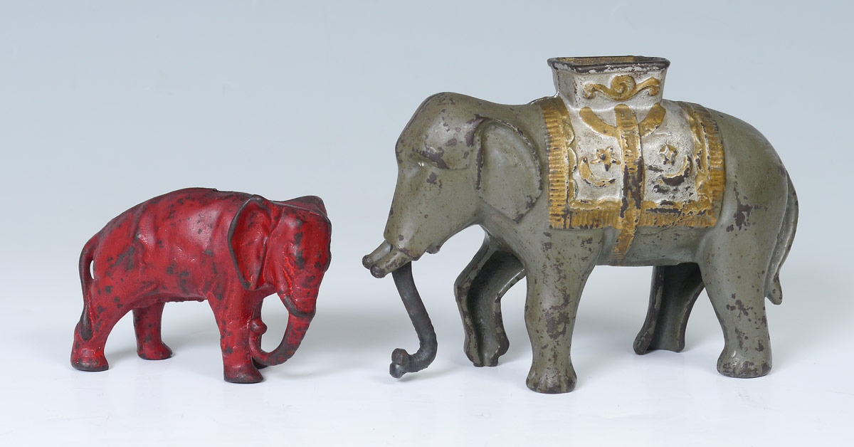 2 CAST IRON ELEPHANT FIGURAL BANKS:  2 pieces