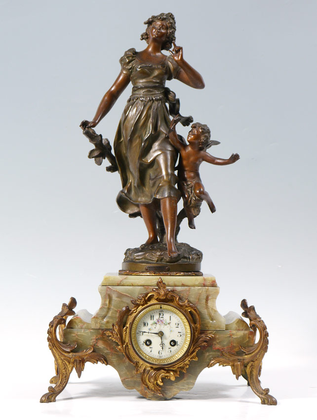 FRENCH FIGURAL BRONZE AND GREEN ONYX MANTLE