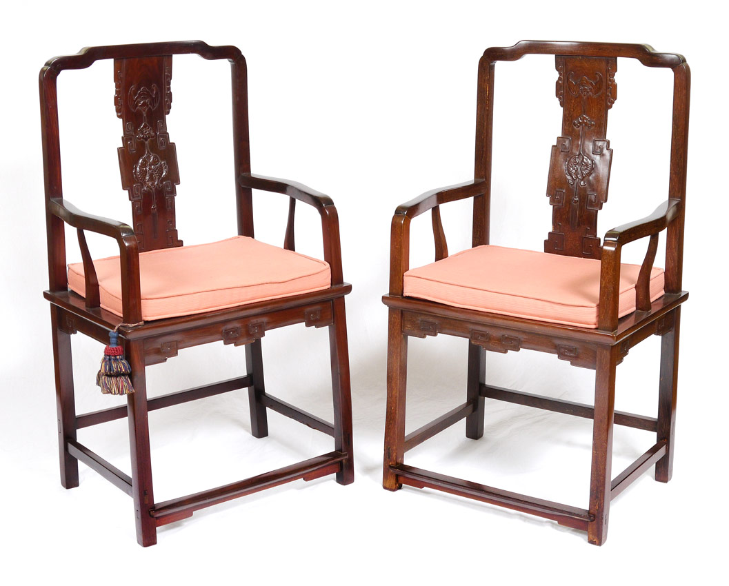 2 CARVED CHINESE ARM CHAIRS:  Shaped top
