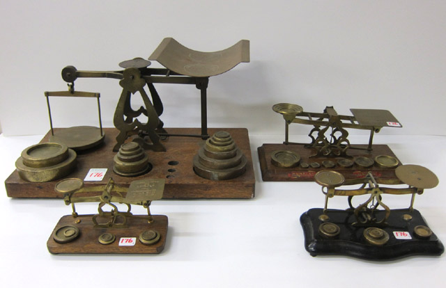 FOUR ENGLISH ANTIQUE BRASS BALANCE BEAM SCALES