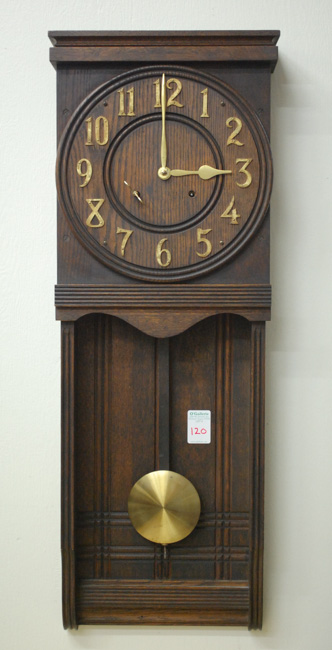 MISSION OAK WALL CLOCK, Ansonia Clock Co.,