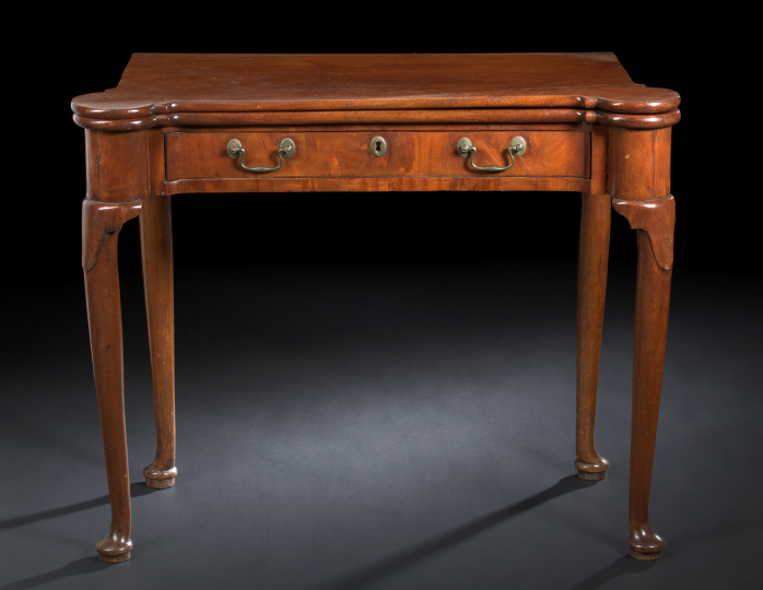 Queen Anne-Style Mahogany Games Table,  third
