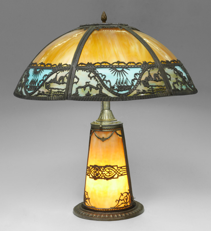 BENT PANEL LIGHTHOUSE BASE SLAG GLASS LAMP: