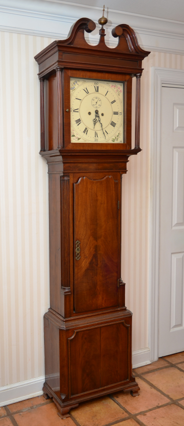 English Mahogany Grandfather Clock Bonnet With Swan Neck Broken Arch Pediment Spire Finial Full Column Supports Case Canted Corners Reeded