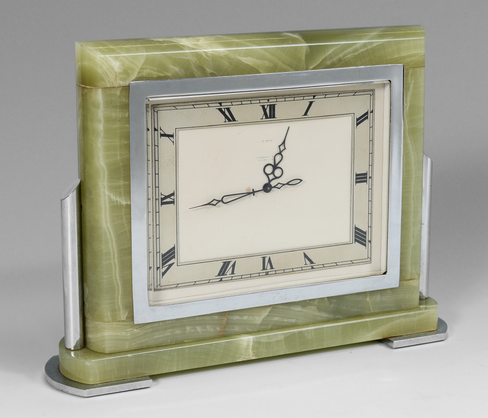 HARRODS GREEN ONYX ART DECO DESK CLOCK: