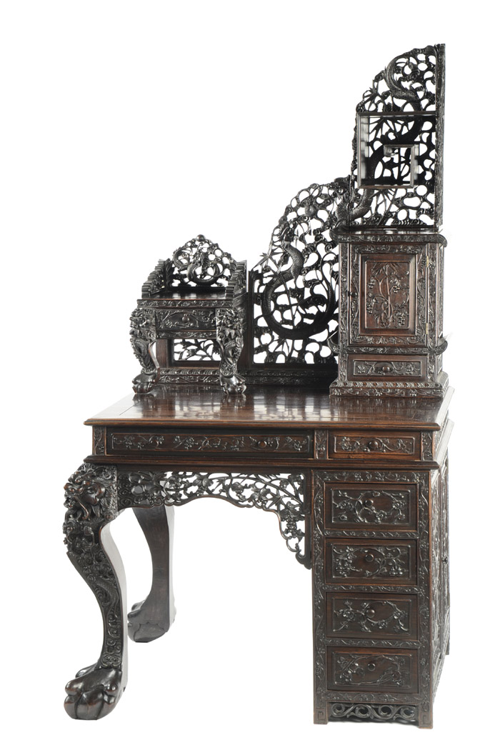 CARVED ROSEWOOD WRITING DESK, Chinese export,