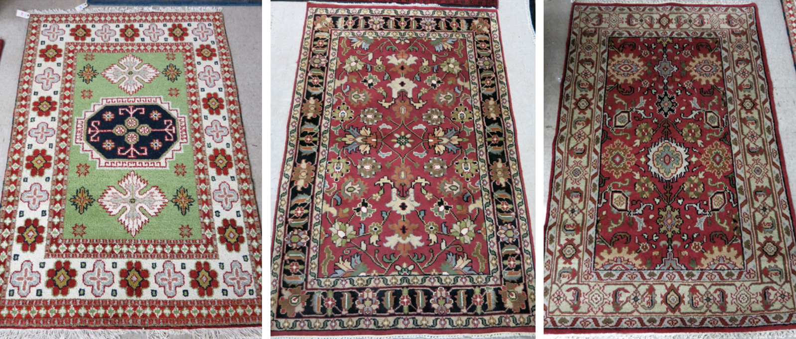 THREE HAND KNOTTED ORIENTAL AREA RUGS: 4'2""