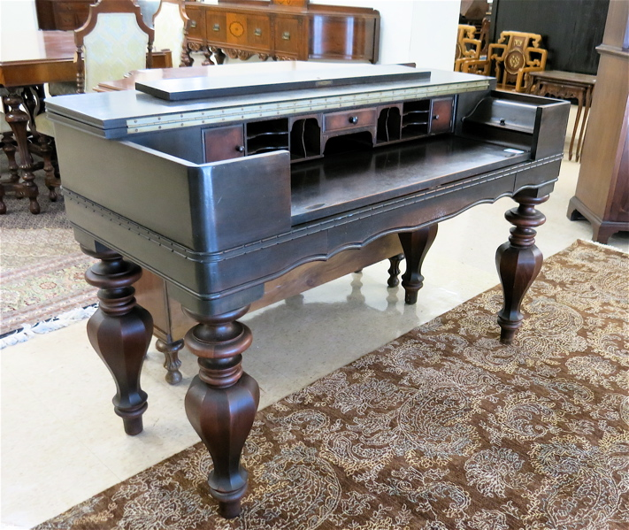 Dark Gany Spinet Desk H E Shaw Furniture Co Grand Rapids Michigan Circa 1919 1933 The Rectangular Top Folding Back To Reveal A Ed Interior