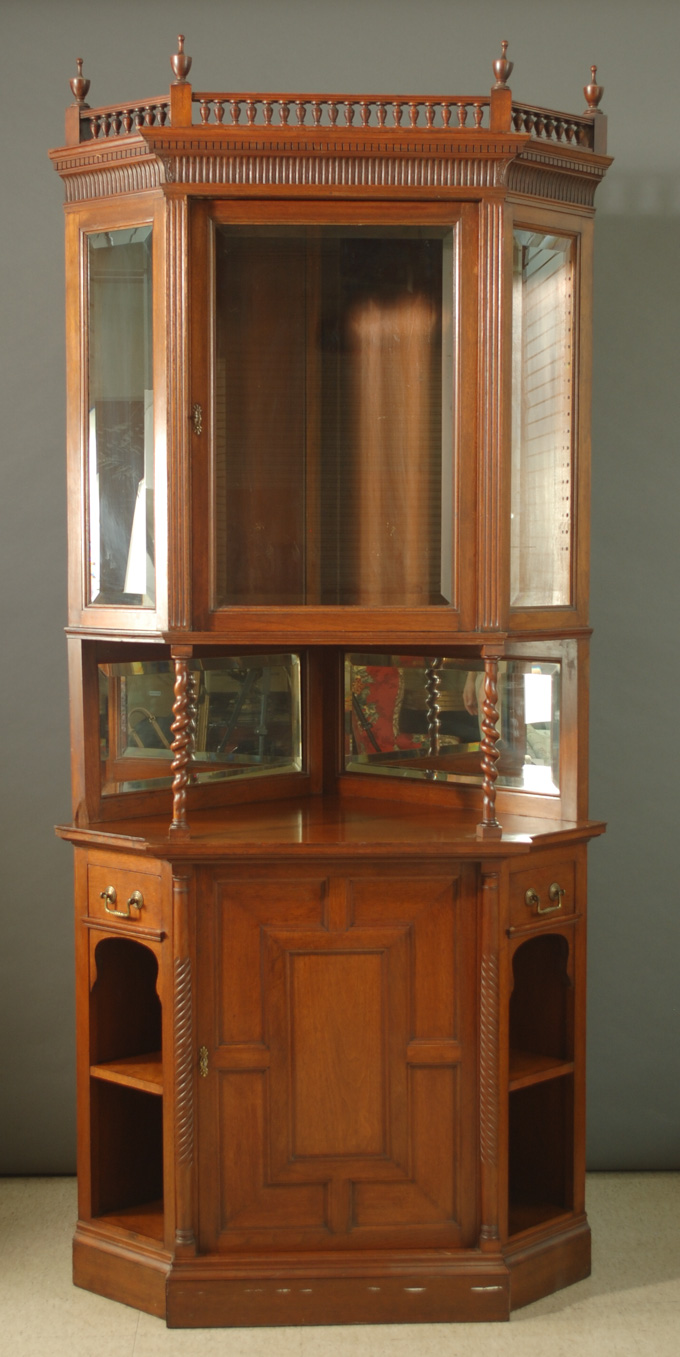 AN EDWARDIAN WALNUT CORNER CABINET, English,