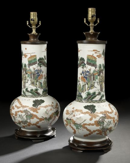 Pair of Chinese Famille Verte Porcelain Bottle