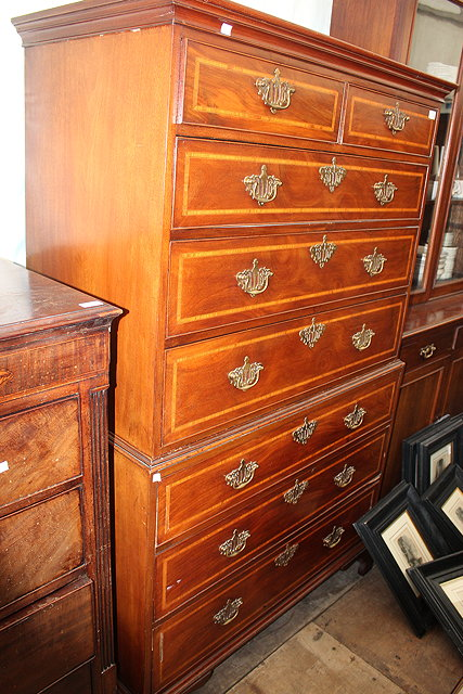 A GEORGIAN MAHOGANY CHEST ON CHEST or tallboy