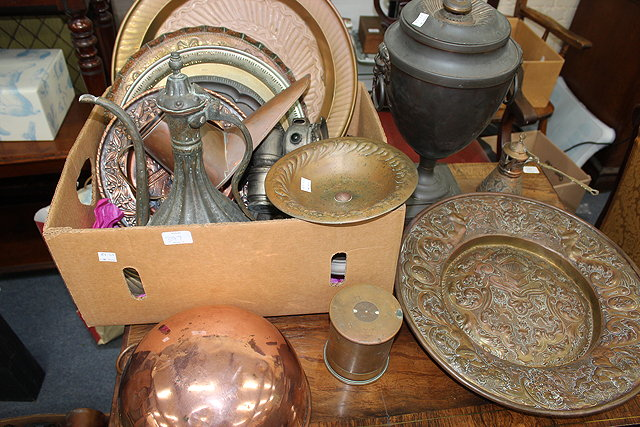 A QUANTITY OF COPPER AND BRASSWARE to include
