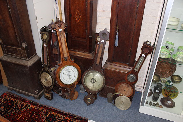 EIGHT VARIOUS 19TH CENTURY WHEEL BAROMETERS