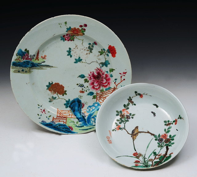 A CHINESE FAMILLE VERTE PLATE with pagoda,