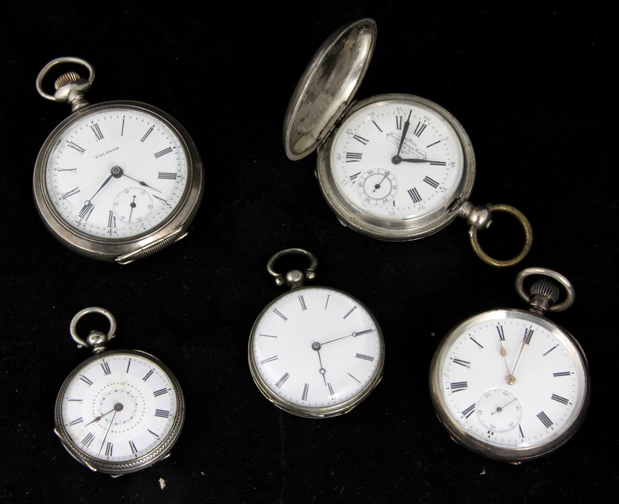 A silver cased open faced pocket watch by