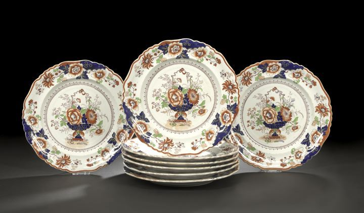 Suite of Eight English Ironstone Dinner Plates,