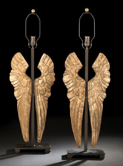 Two Pairs of Italian Art Deco Carved Giltwood