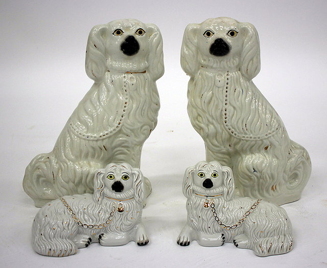 A PAIR OF WHITE GLAZED STAFFORDSHIRE TYPE