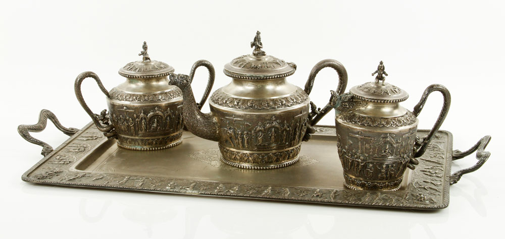 6051 - Indian 19th C. Silver Repousse Tea