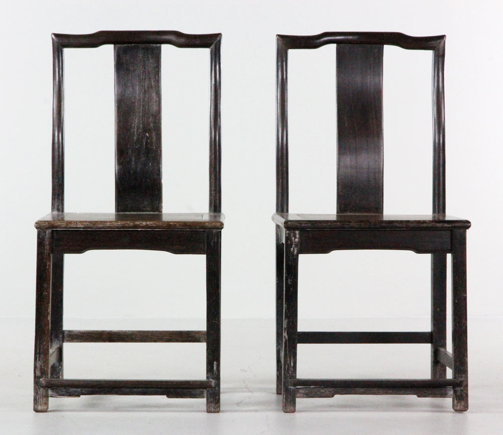 2298 - 19th/20th C. Pr Chinese Hardwood Chairs