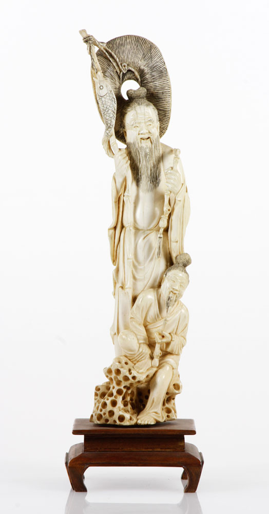 4083 - Japanese Carved Ivory Figure of Fisherman