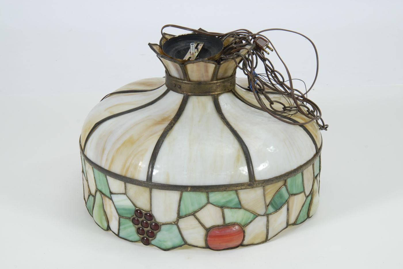 ART NOUVEAU HANGING LAMP with curved caramel