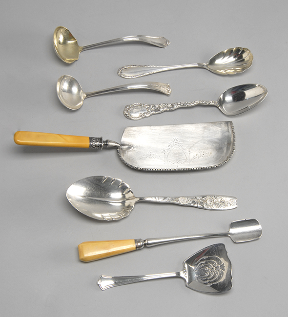 SIX AMERICAN SILVER SERVING PIECES	Together