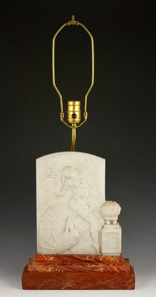 1253 - French Art Deco Marble Lamp  		French