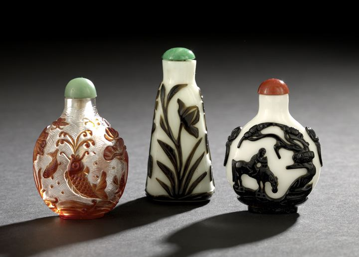 Group of Three Chinese Overlay Glass Snuff