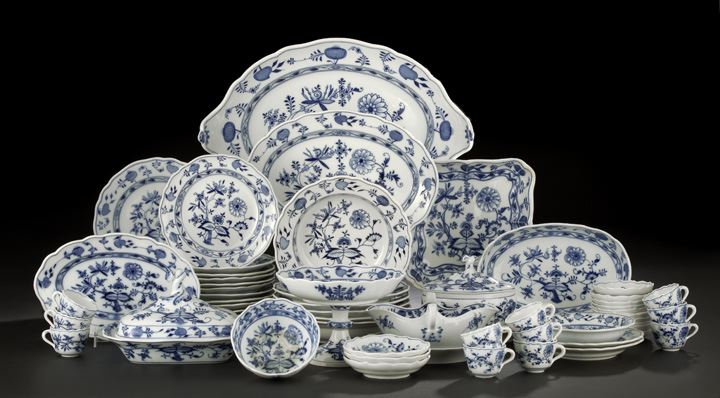Assembled Sixty-One-Piece Meissen Porcelain