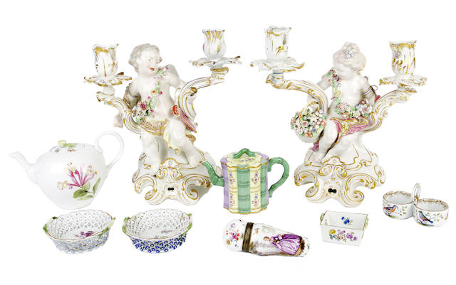 A selection of Meissen porcelain and a pair