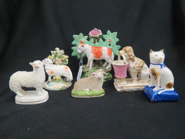 6 Staffordshire Pottery Figurines,sheep,