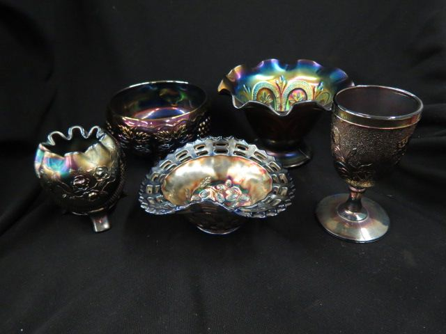 5 pcs. Carnival Glass;footed rose bowl, goblet,