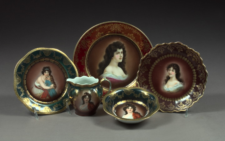 Five-Piece Collection of Porcelain,  consisting